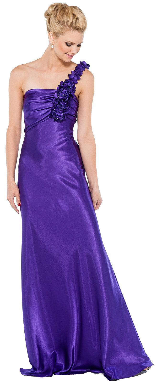 Main image of Floral One Shoulder Full Length Formal Bridesmaid Dress
