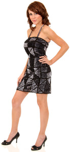 Main image of Spaghetti Straps Sequined Mini Formal Party Dress