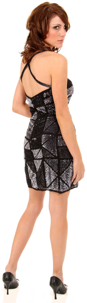 Back image of Spaghetti Straps Sequined Mini Formal Party Dress