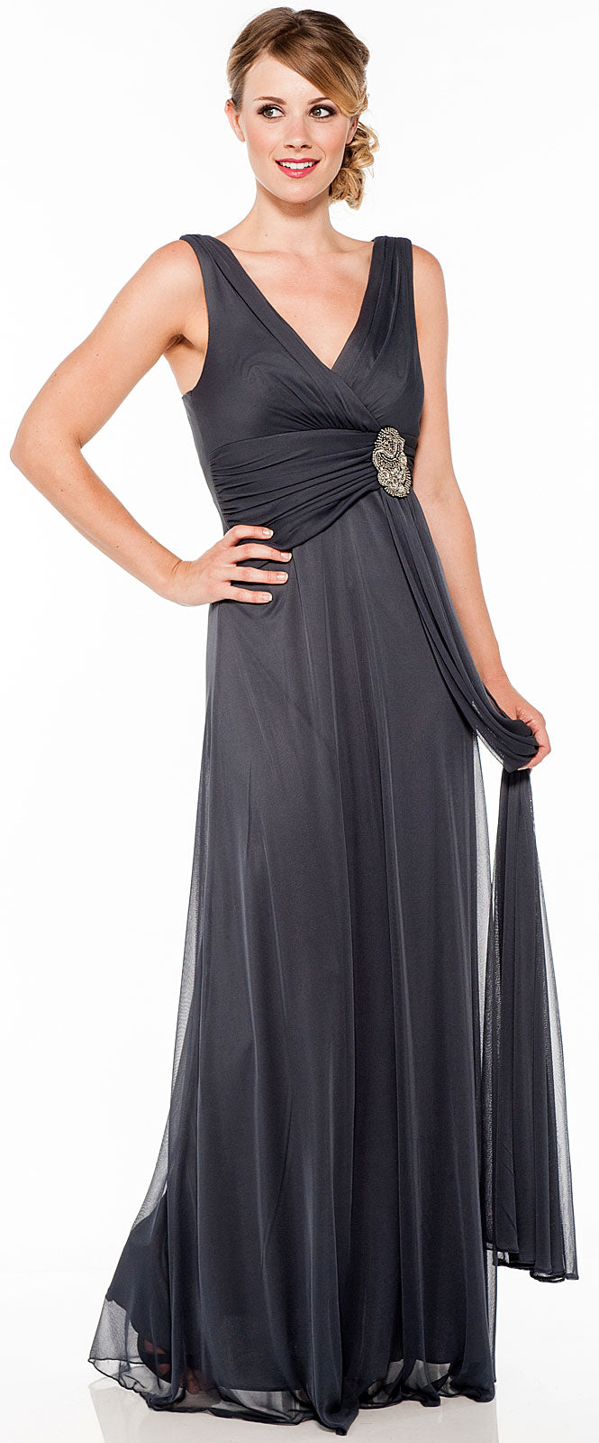 Main image of V Neck Ruched Waist With Sash Long Formal Dress