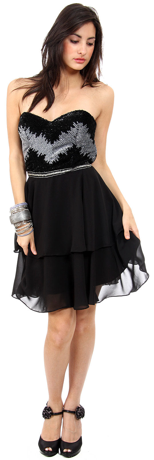 Main image of Strapless Ruffled Skirt Sequined Bust Short Prom Dress