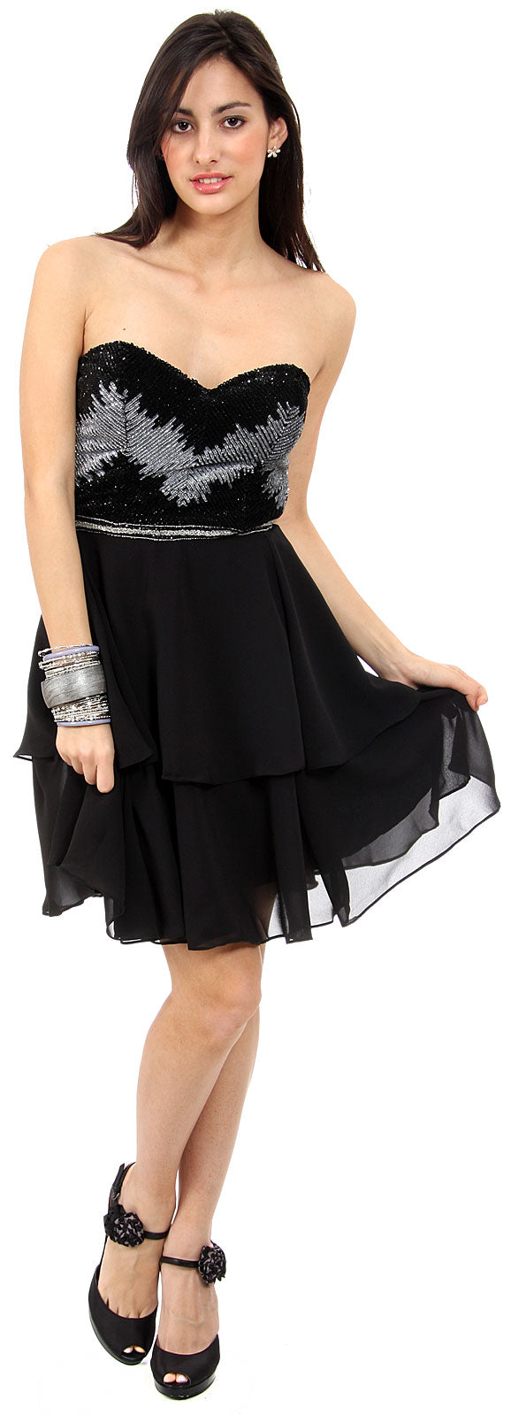 Image of Strapless Ruffled Skirt Sequined Bust Short Prom Dress  in alternative image