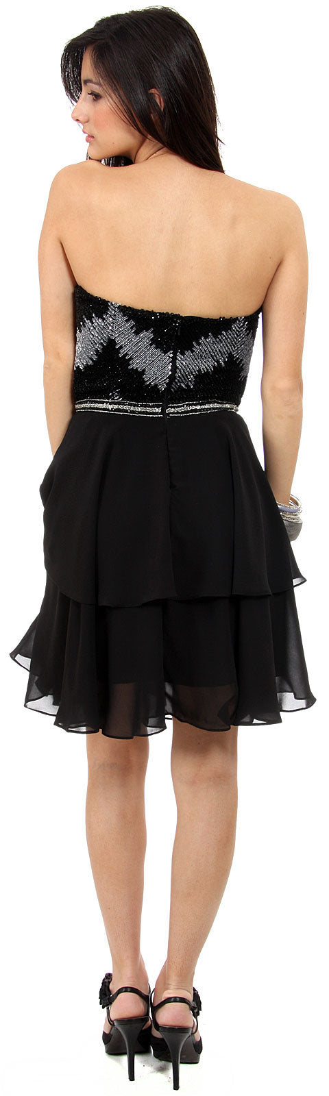 Back image of Strapless Ruffled Skirt Sequined Bust Short Prom Dress