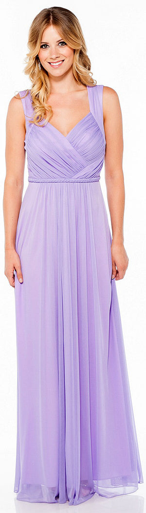 Image of Braid Accent Ruched Long Formal Bridesmaid Dress  in Lilac