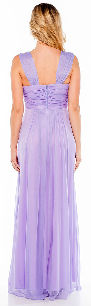 Image of Braid Accent Ruched Long Formal Bridesmaid Dress  back in Lilac