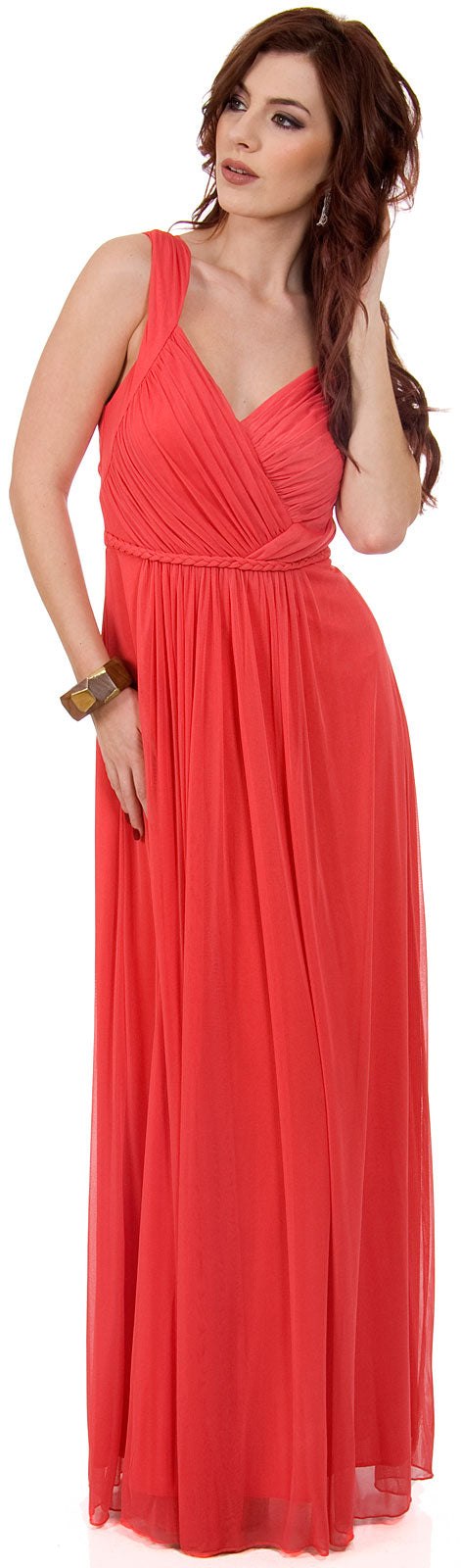 Main image of Braid Accent Ruched Long Formal Bridesmaid Dress