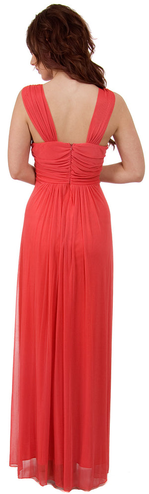 Back image of Braid Accent Ruched Long Formal Bridesmaid Dress