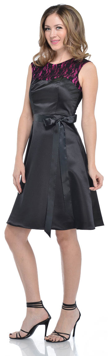Main image of Satin & Lace Short Dress With Detachable Belt
