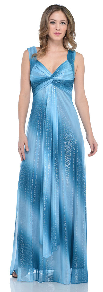 Main image of Long Formal Ombre Dress With Metallic Animal Foiling