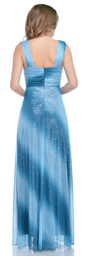 Back image of Long Formal Ombre Dress With Metallic Animal Foiling