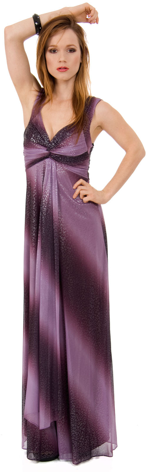 Image of Long Formal Ombre Dress With Metallic Animal Foiling  in Plum