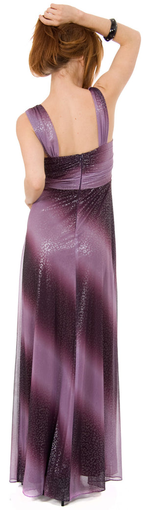 Image of Long Formal Ombre Dress With Metallic Animal Foiling  back in Plum