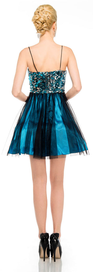 Back image of Sequined Spaghetti Strapped Mini Prom Dress