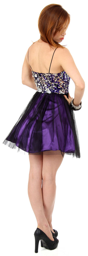 Image of Sequined Spaghetti Strapped Mini Prom Dress back in Black/Purple