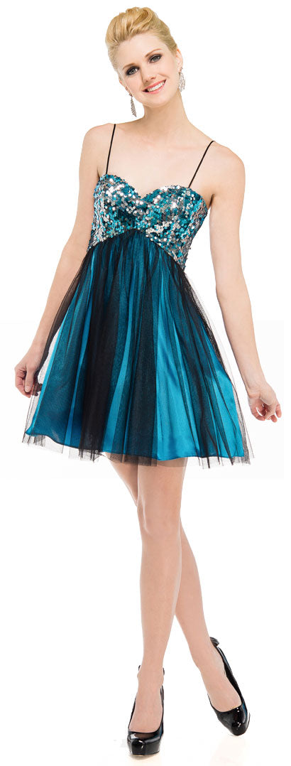 Main image of Sequined Spaghetti Strapped Mini Prom Dress