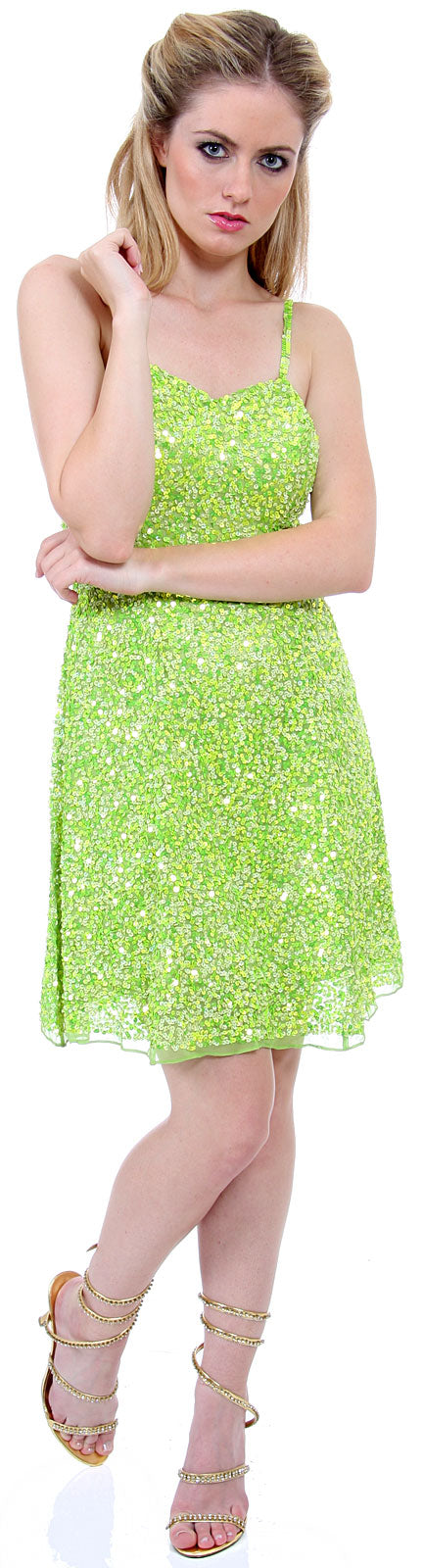 Main image of Short Sequin Spaghetti Strapped Party Dress