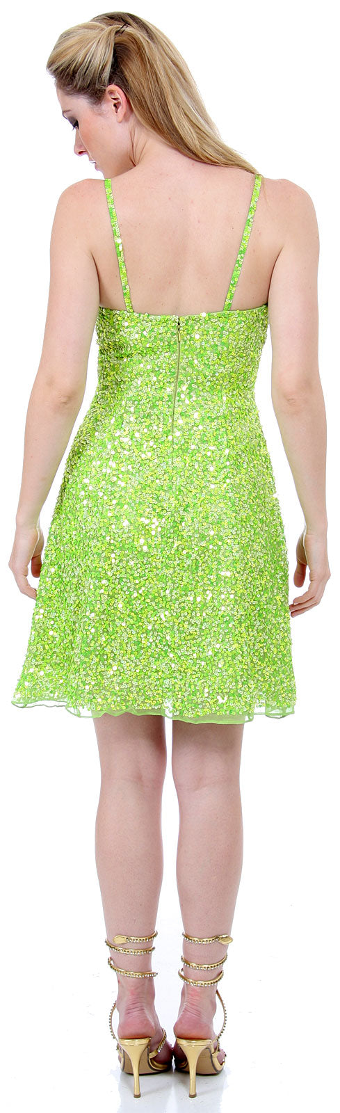Back image of Short Sequin Spaghetti Strapped Party Dress