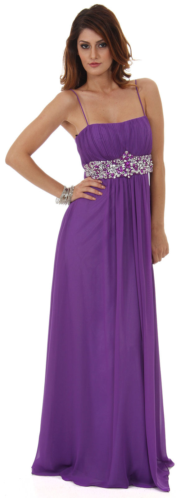 Image of Empire Cut Long Formal Dress With Bejeweled Waist in Violet