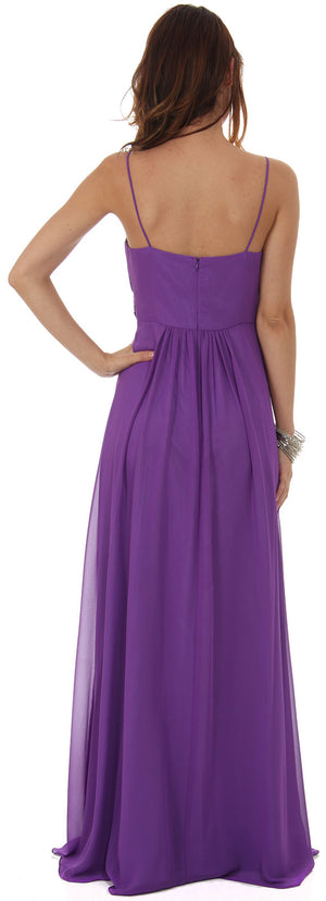 Image of Empire Cut Long Formal Dress With Bejeweled Waist back in Violet