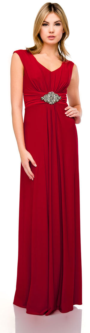 Main image of V-neck Cap Sleeves Empire Cut Long Formal Dress