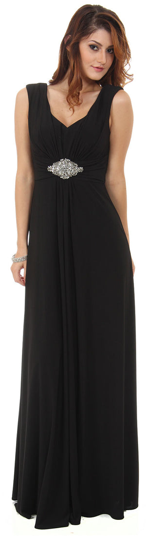 Image of V-neck Cap Sleeves Empire Cut Long Formal Dress in Black
