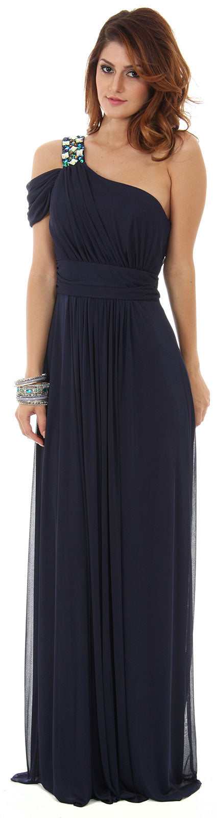 Main image of One Shoulder Long Formal Dress With Bejeweled Strap