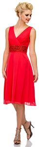 Main image of V-neck Knee Length Formal Party Dress With Pleating