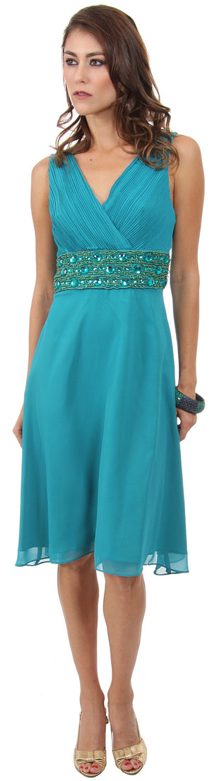 Image of V-neck Knee Length Formal Party Dress With Pleating  in Teal