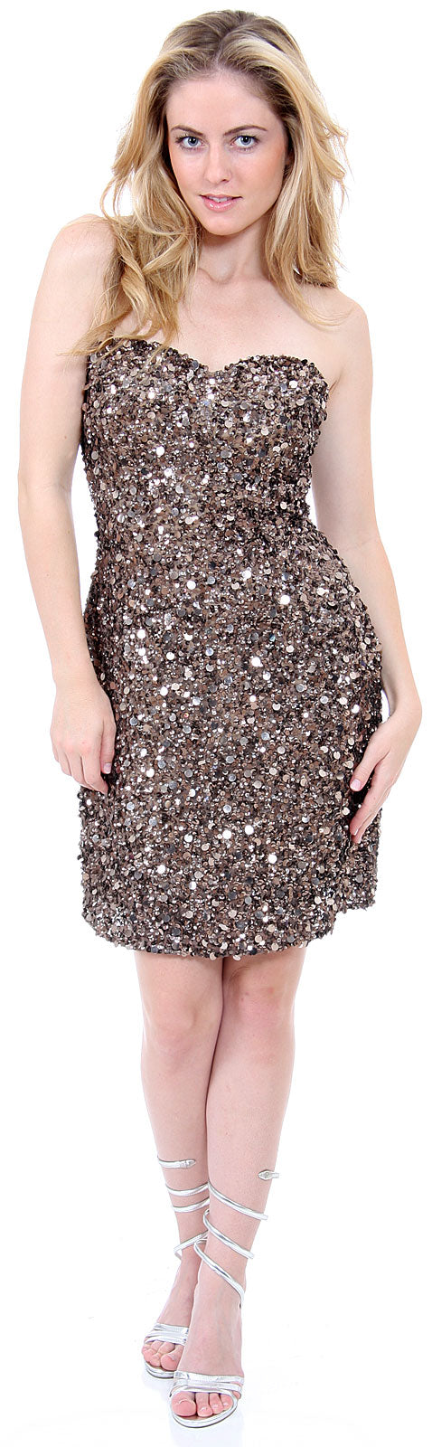 Main image of Strapless Heart-shaped Formal Sequined Dress