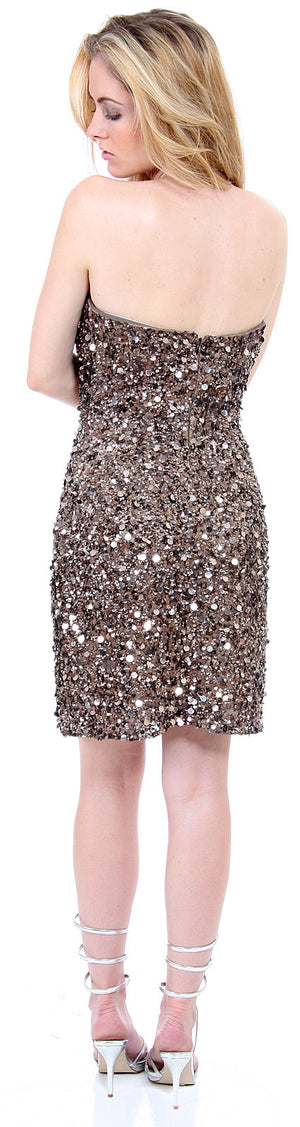 Back image of Strapless Heart-shaped Formal Sequined Dress