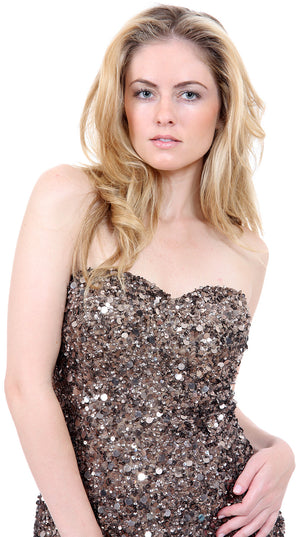 Image of Strapless Heart-shaped Formal Sequined Dress in closeup
