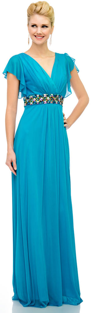 Image of V-neck Long Formal Mob Dress With Flutter Sleeves in Dark Turquoise