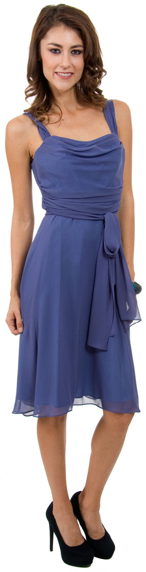 Image of Cowl Neck Knee Length Bridesmaid Party Dress  in an alternative picture