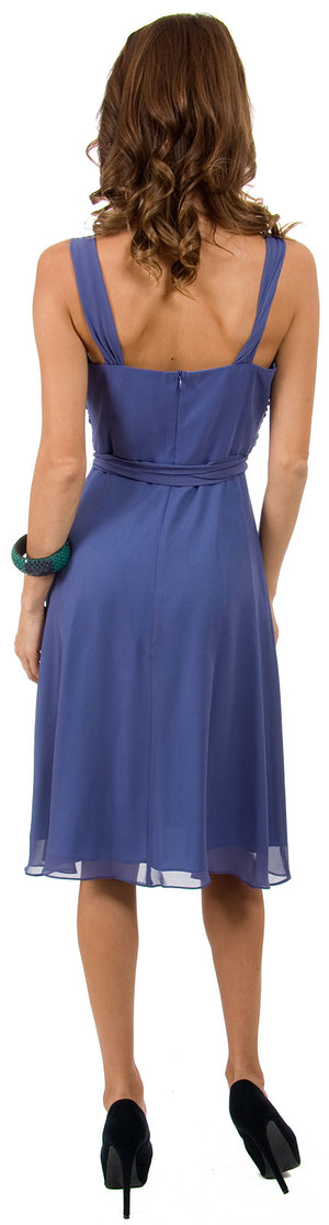 Image of Cowl Neck Knee Length Bridesmaid Party Dress  back