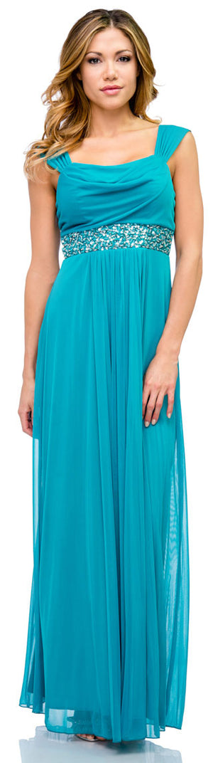 Image of Empire Cut Long Formal Dress With Cap Sleeves  in Dark Turquoise