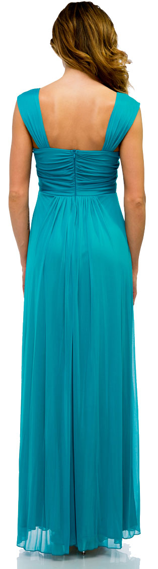 Image of Empire Cut Long Formal Dress With Cap Sleeves  back in Dark Turquoise