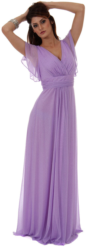 Image of Glittered V-neck Long Formal Dress With Flutter Sleeves in Lilac