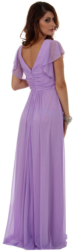 Image of Glittered V-neck Long Formal Dress With Flutter Sleeves back in Lilac