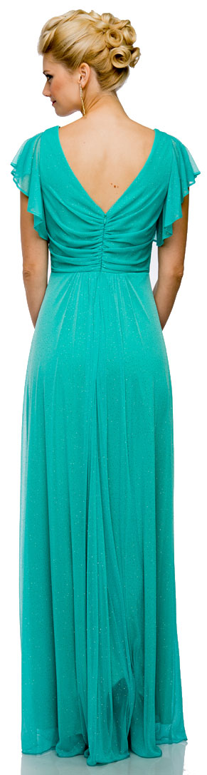 Back image of Glittered V-neck Long Formal Dress With Flutter Sleeves