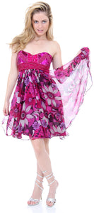 Main image of Strapless Floral Print Short Homecoming Party Dress