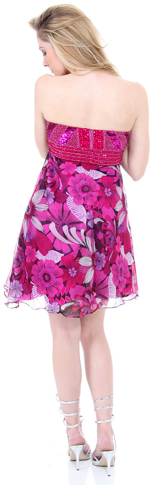 Back image of Strapless Floral Print Short Homecoming Party Dress