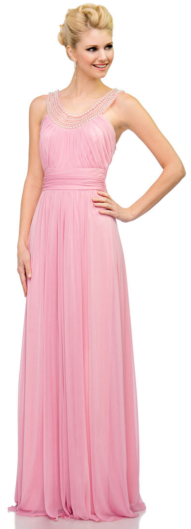Image of Pearls U-neck Ruched Long Formal Bridesmaid Dress  in Dark Rose