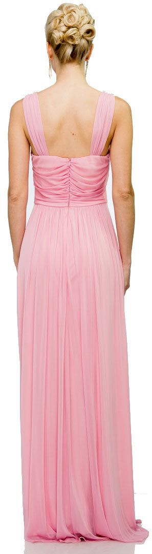 Image of Pearls U-neck Ruched Long Formal Bridesmaid Dress  back in Dark Rose