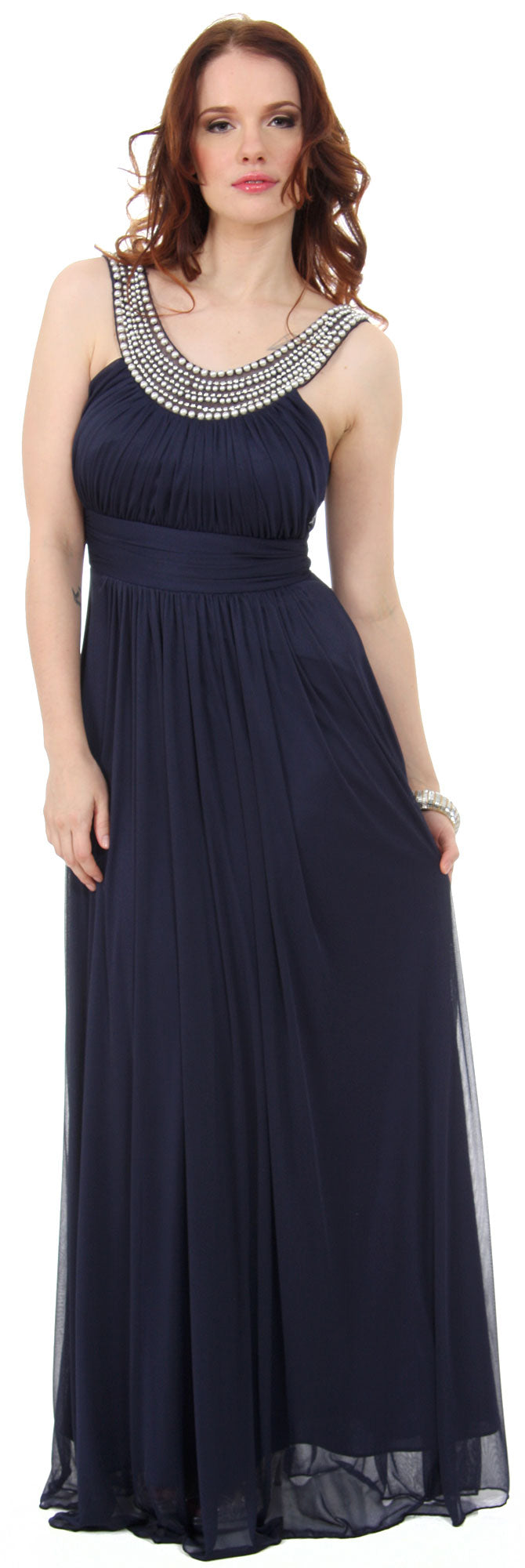 Image of Pearls U-neck Ruched Long Formal Bridesmaid Dress  in Navy