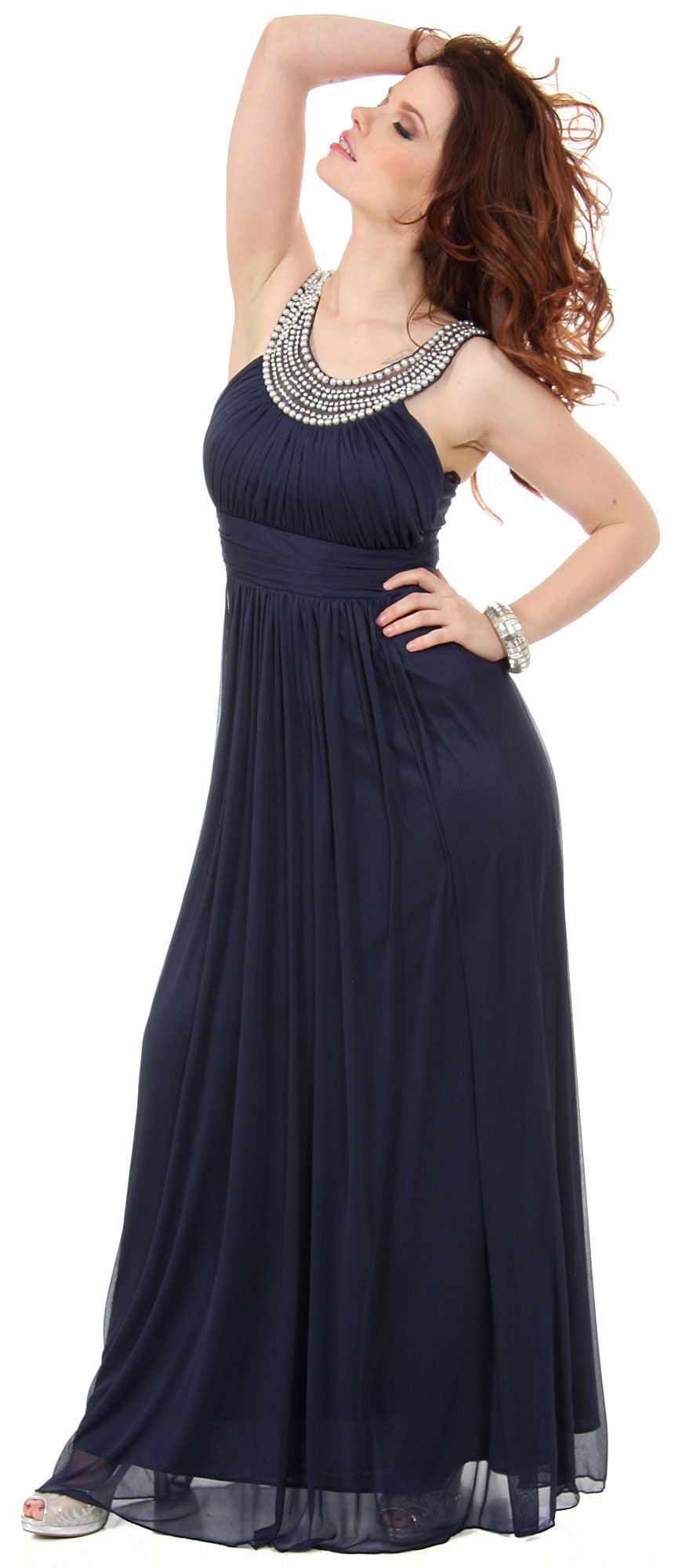 Image of Pearls U-neck Ruched Long Formal Bridesmaid Dress  in alternative picture