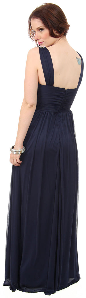 Back image of Pearls U-neck Ruched Long Formal Bridesmaid Dress
