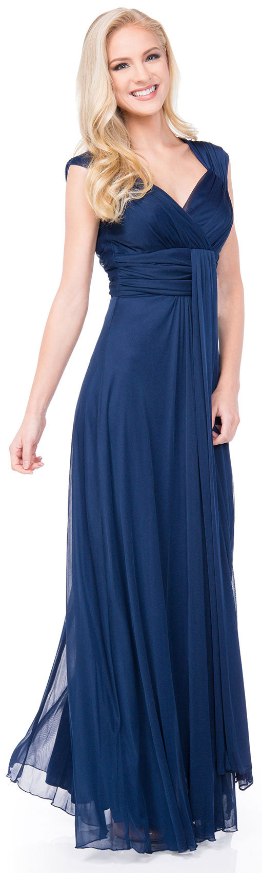 Main image of V-neck Long Formal Dress With Cap Sleeves & Front Slit