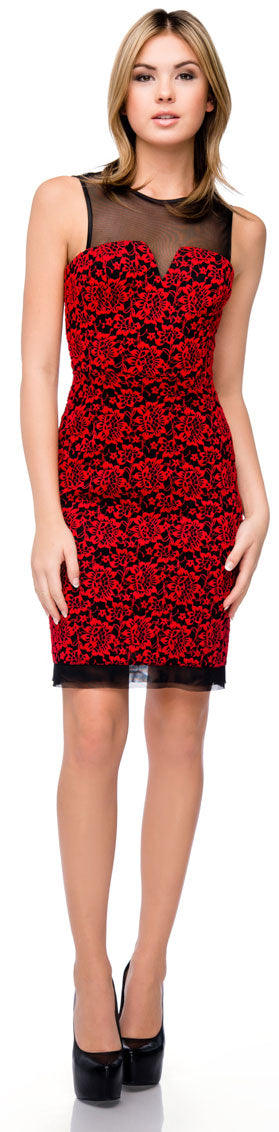 Main image of Floral Lace Short Party Dress With Mesh Trim