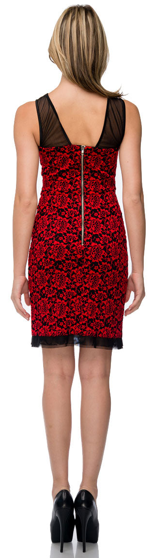 Back image of Floral Lace Short Party Dress With Mesh Trim
