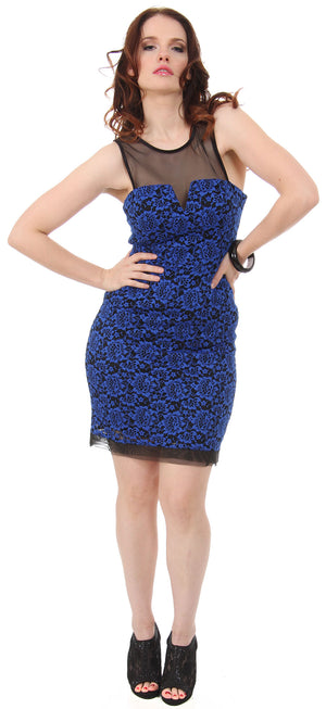 Image of Floral Lace Short Party Dress With Mesh Trim in Royal Blue